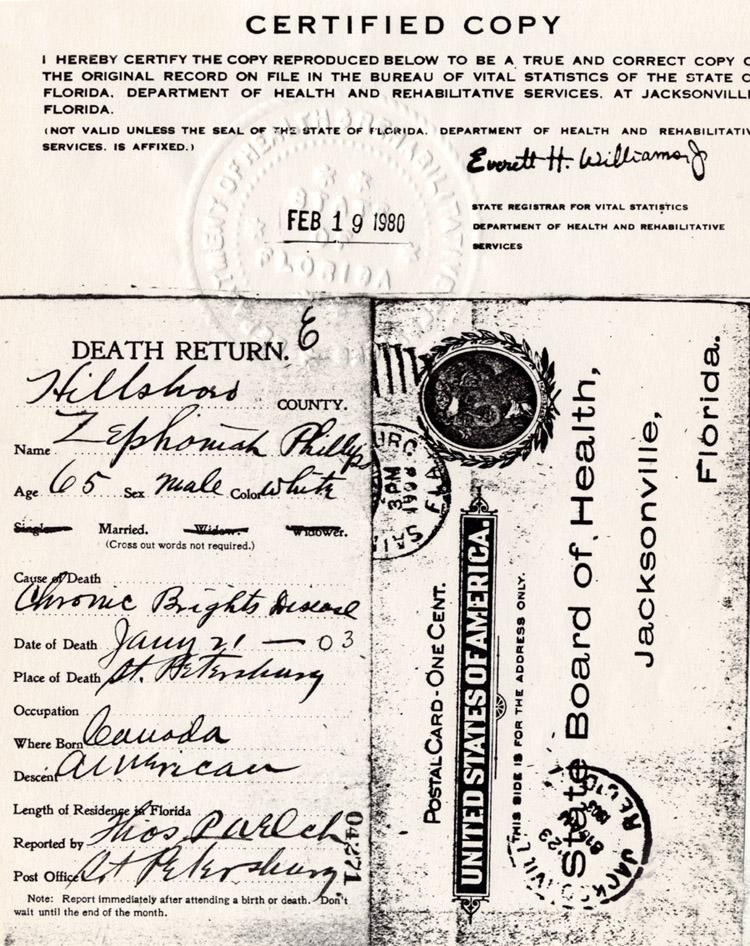 Anne Healy\'s Genealogy: Zephaniah Phillips Death Certificate