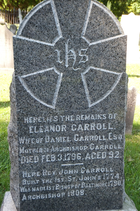 gravestone of Eleanor Darnall Carroll, wife of Daniel Carroll, Carroll Chapel and cemetery, Forest Glen, Maryland