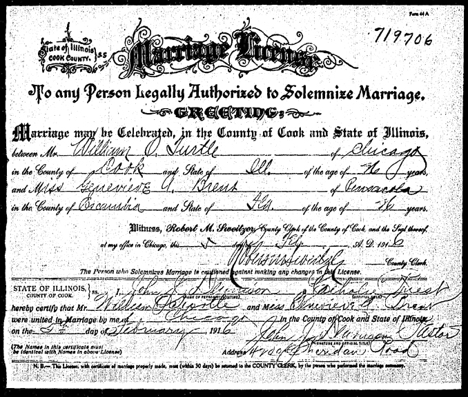 Anne Healy\'s Genealogy: Warren Brent marriage certificate