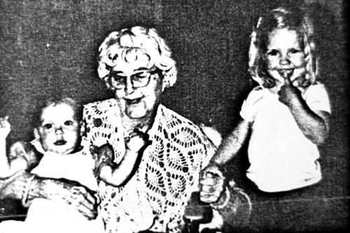 Helen Miller, 1885-1983, daughter of Francis Benjamin Miller, with two of her nieces
