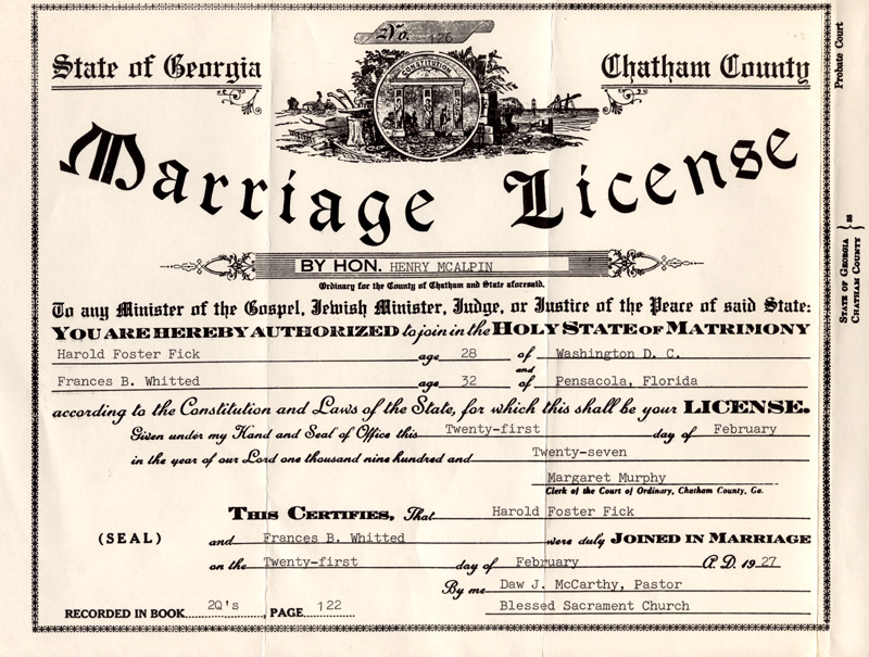 Marriage license and certificate of Harold Fick and Frances Brent Whitted, 1927