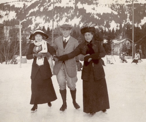 Maude Bentall, skating with her younger brother, Edwin Swainson Miller, 1869-1945, and her daughter, Dorothy