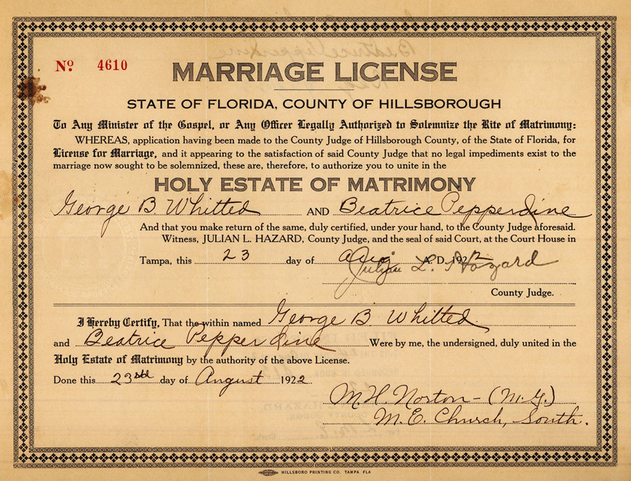 Whitted Pepperdine Marriage Certificate